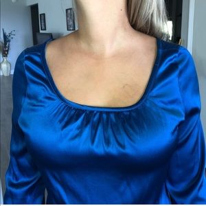 Silk and spandex royal blue blouse